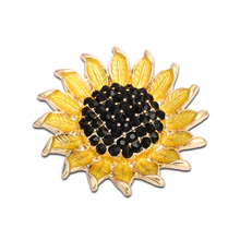 Gold Sunflower Snap Buttons Black Full Rhinestone Stone Buttons Fit 18mm/20mm DIY Snap Bracelet Buttons Jewelry(China)
