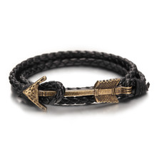 2016 New Arrival Multilayer charm leather Vintage Bronze Arrow bracelet anchor bracelet for men women lovers' gift(China)