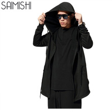 Men Hooded With Black Gown Fashion Hip Hop Mantle Hoodies Hat Sweatshirts long Sleeves Design Cloak Winter Coats Outwear Loose(China)