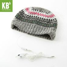 SALE KBB Xmas Fall Winter Comfy Gray White Pink Rug Design Music MP3 headphones Yarn Knit Women Delicate Winter Hat Beanie