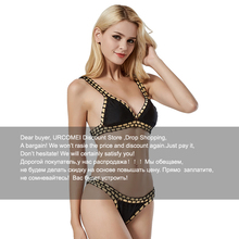 2017 New Hot Sexy Bikinis Two-piece Women Swimwear Beach Sunbathing Swimsuit Special Design Handmade Crochet Gold Black(China)