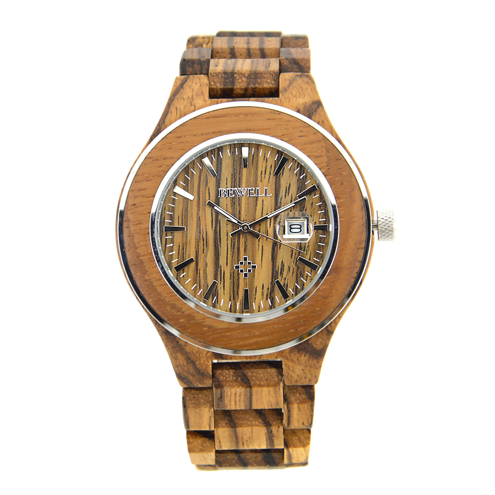 BEWELL Wood Watch for Men Quartz Wristwatch 30m Water Resistant 3H Date Analong Display Relogio Masculino ZS-100AG<br>