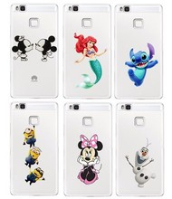 For Huawei P9 Lite 2016 Case Mickey Minnie Mouse Stitch Mermaid Snowman Cartoon Cute Plastic Clear Cover(China)