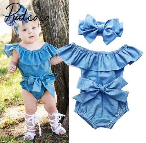 Newborn Baby Girls Watermelon Bowknot Romper Bodysuit Jumpsuit Outfits Sunsuit