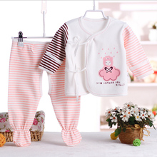 100% Cotton Newborn Birthday Girl Outfits Striped Unisex Baby Girl Boy Clothes Sets Cartoon Infant Clothing Suit For 0-3M(China)