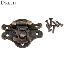 1Pc Antique Bronze Jewelry Wooden Box Hasps Drawer Latches Decorative Brass Suitcases Hasp Latch Buckle Clasp 38x29mm/48x37mm(China)