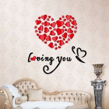 Lovely Mirror Hearts Flower 3D Removable Vinyl Quote Wall Sticker DIY Rose Stickers Decal Mural Home Decors wedding decoration(China)