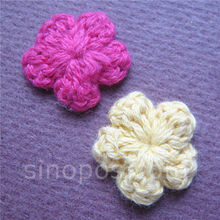 Handmade Crochet Flower Applique 18mm, quilting scrapbooking DIY 3D cotton wool craft knitted fabric clothes sewing decoration
