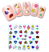 Fashion style 1 Sheets 3D Design cute DIY cartoon colorful diamonds Tip Nail Art Nail Sticker Nails Decal Manicure nail tools