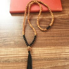 MXR0995 Black Onyx 108 Mala Beads Heart Chakra Necklace Root Chakra Yoga Mala Rudraksha Prayer Beads Tassel Necklace