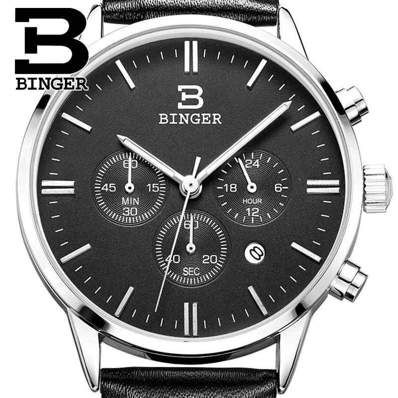 BINGER watches men luxury brand Quartz mens watch waterproof genuine leather strap clock gold Chronograph Wristwatches BG9201-6<br>