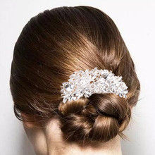 Rhinestone Princess Wedding Tiara Austrian Crystal Rose Flower Bridal Long Handmade Hair Comb Accessories
