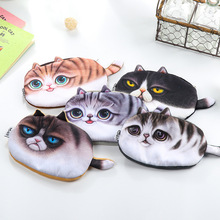 Creative Cute Kawaii Plush Cat Face Large Capacity School Pencil Case Stationery for Kid Pen Bag Multifunctional Cosmetic Bag