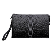 Ostrich pattern Genuine cow Leather envelope bag Men Briefcase wristlets bag Cowhide Men's Messenger Bag male Handbag ipad bag