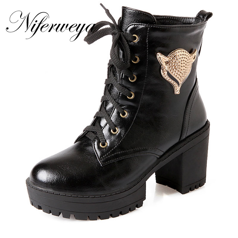 2016 New big size 30-50 autumn/winter women shoes fashion Round Toe Platform high heels Lace-Up Ankle boots 30 31 32 33 HQW-A22<br>