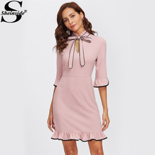 Sheinside Tie Neck Contrast Binding Ruffle Cute Dress 2017 Women Pink Band Collar Half Sleeve Cut Out Elegant Party Dress(China)