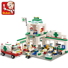 SLUBAN 376pcs City Emergency Center ABS Building Blocks Ambulance House DIY Assembling Bricks Brand Toys Kids Gifts(China)