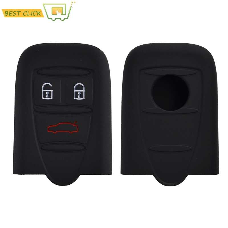 3 Button Silicone Key Case Cover For Alfa Romeo 159 Brera 156 Q4 GT 946 Spider Keyless Fob Shell Skin Keyring Key Chain Holder