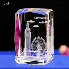 JQJ Crystal Glass Cube London Model Paperweight 3D Laser Engraved Tower Bridge Eye Big Ben Figurines Feng Shui Souvenirs Crafts