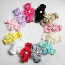 2014  baby Hair accessories Infant toddler girls lace flowers crochet elastic handbands children  pearl headband Retail