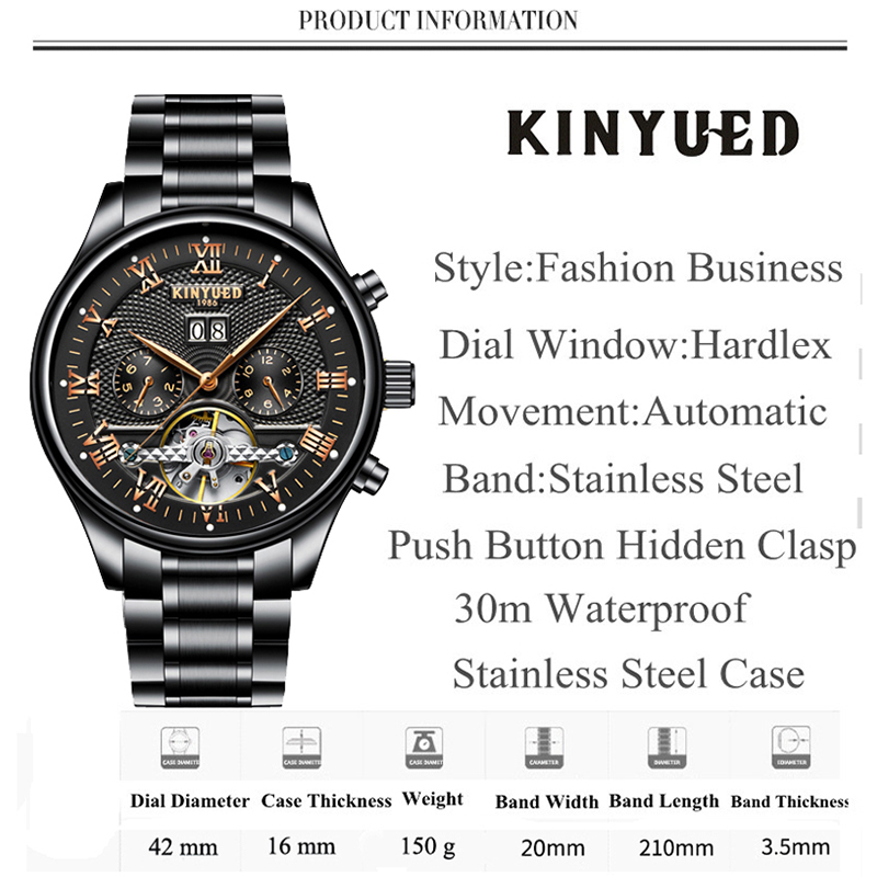 KINYUED Men's Self-Wind Tourbillon Mechanical Watches Water Resistant Automatic Skeleton Watch Men Relojes Hombre 2018 Dropship 4
