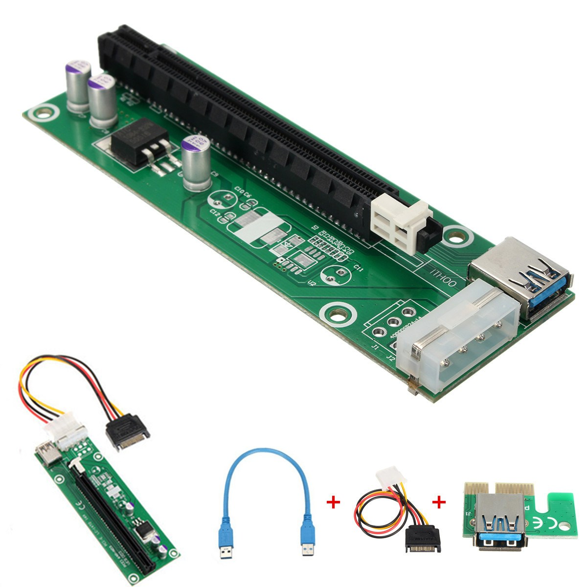 High Quality Wholesale  5Pcs USB 3.0 PCI-E Express 1x to16x Extender Riser Board Card Adapter SATA Power Cable<br>