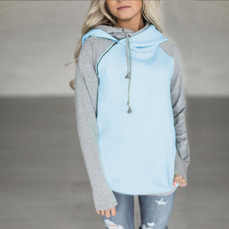 New Double Hood Sweatshirt, Women's Long Sleeve, Side Zipper Hooded Casual Pullover 10