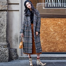 2017 Autumn Winter Original Collection Designer Black Wool Plaid Tweed Turn-Down Collar Wool Coat Jacket Haute Couture High End(China)