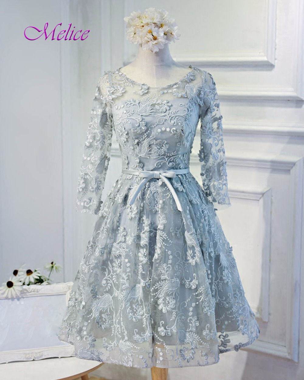 Buy prom dresses short with full sleeves and get free shipping on ...