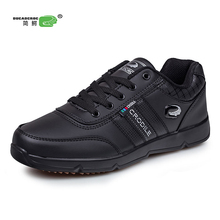 KERZER Men's Running Shoes Big Size Sneakers Spring Autumn Men Sneakers Men Sport Trainers Leather Athletic Shoes Black/White(China)