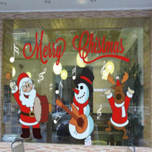 1pc Plastic Christmas Store Shop Showcase Window Glass Decor Display Xmas Piece Paper-cut Wall Santa Claus Decoration Supplies