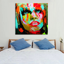 Handpainted Human Portrait Best Quality Oil Paintings Modern Abstract Colorful Art Wall Pictures Fashion Lady On Canvas(China)
