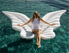 250cm 98inch Giant Angel Wings Inflatable Pool Float Gold White Air Mattress Lounger Water Sofa Party Toys Ride-on Swimming Ring(China)
