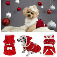 Luxury Dog Christmas Clothes Warm Winter Dog Dress Jacket Coats Pet  Hoodie Outwear Clothing  With Christmas Hat Wholesale