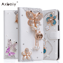3D Glitter Decoration Leather Case For ZTE Blade L5 Plus Case Dimond Bling Rose Flower Girl Wallet Flip Cover For ZTE Blade L5(China)
