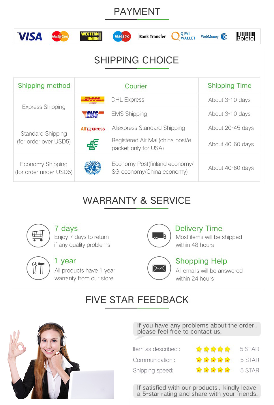 3 payment shipping service feedback