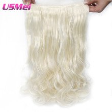 "USMEI False Hair Extensions 5 Clips/pcs in 24"" inches Long Curly Hairpiece Heat Resistant Synthetic Hair"