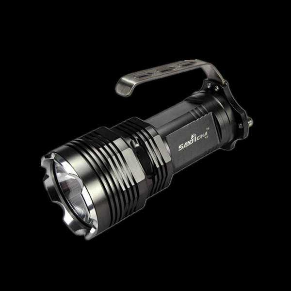 strong light flashlight high power torch outdoor portable led searchlig hunting flashlight 900 lumens black 10W fishing lamp<br>