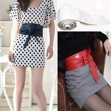 1 pc Fashion Women Bowknot Waist Belt Bind Wide Belt Women Leather Bow Belt Cummerbund Waistband For Female Dress
