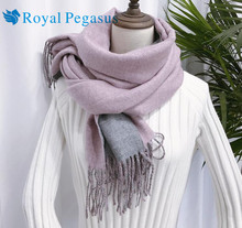 2017 winter and new double cashmere big shawl texture tassel scarf thickening Europe and America fan scarf female dual-use(China)