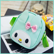 PU leather children school bags cute cartoon rabbite bow kids travel messenger bag small pouch for kindergarten baby kids girls(China)