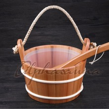 Free shipping Core Grip 4L Red Cedar Bucket and Ladle combined with portable Insert Wholesaler, Sauna and steam accessories(China)