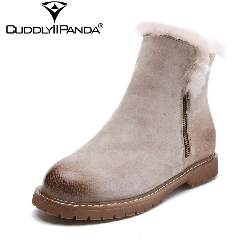 CuddlyIIPanda Winter Wool Women Snow Boots Genuine Leather Chelsea Boots Pig Suede Ankle Boots Warm Winter Boots Botas Mujer<br>