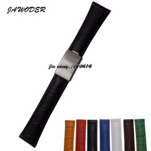 JAWODER 20mm men/women brown/green/blue/black/yellow/white/red Crocodile lines genuine leather watch band for ROL 116610LV