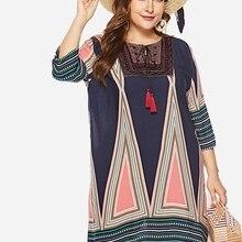 kaifeiya Round Collar Fall Spring Print Shift Dress Knee-Length Length  Sleeves d3f18c149c1c