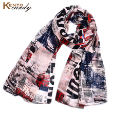 Red telephone box pint letter scarf for women British Style Red bus yarn Shawl and scarves cachecol feminino inverno bandana