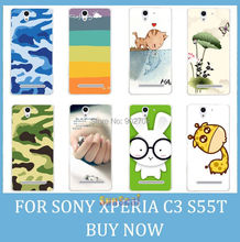 For Sony Xperia C3 S55T D2533 Case Girl Leopard Zebra Skull Cat Fish Lotus Flower Rainbow Hard Back Cell Phone Case