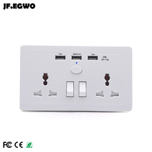 USB wall outlet UK plug wall socket with switch 2 AC 3 USB Charger travel adapter powercube power socket for kitchen au eu plug(China)