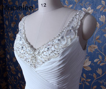 Mucielee Real Sample Beads Neckline A-line Pleated Wedding Dresses Bridal Gowns Sexy Wedding Dresses Turkey Robe De Mariee