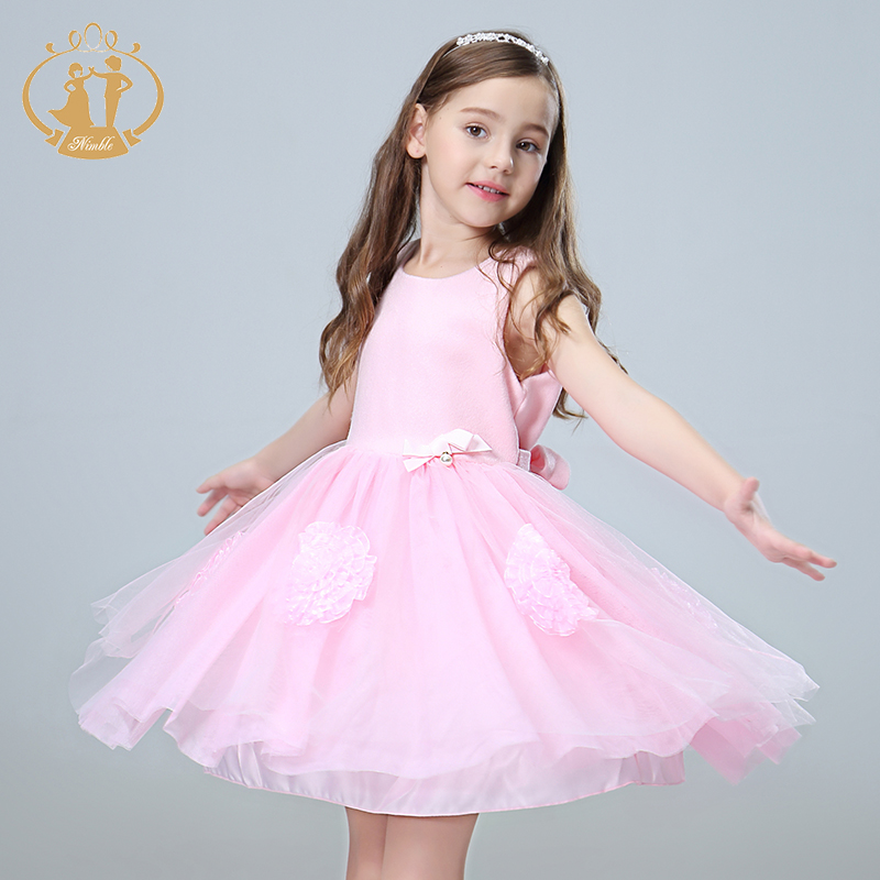 Nimble girls clothes handmade bow with pearl big flower clothes for girls woollen satin wedding evening perform party moana <br>
